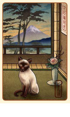 Siamese Japanese Styled Print.