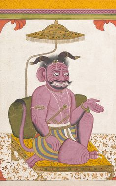 The Demon Hiranyaksha Departs the Demon Palace (detail) / Folio from a Bhagavata Purana Series / Opaque watercolor, ink and gold on paper, ca. 1740 / The Metropolitan Museum of Art