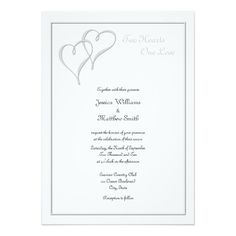 Two Hearts One Love wedding invitation.