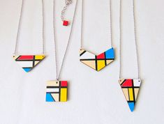 Mondrian Inspired Geometric Necklace Wood by LiKeGjewelry on Etsy