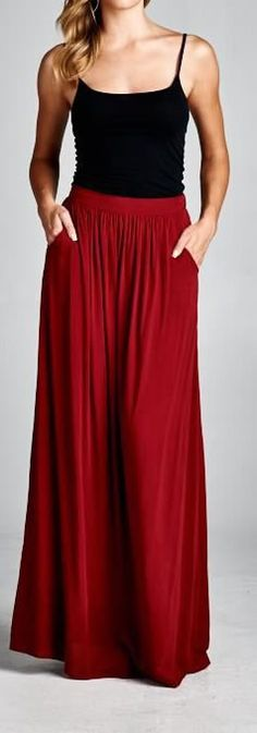 Soft Flowing Long Skirt with Side Pockets in Pomegranate