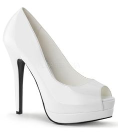 Womens Lovely Glossy Patent White Peep Toe Pumps Shoes with Inch Heels Size. Stiletto Pumps, High Heels Stilettos, Peep Toe Pumps, Classy Heels, Platform Stilettos, Sexy Heels, Zapatillas Peep Toe, White Platform Shoes, High Heels Plateau