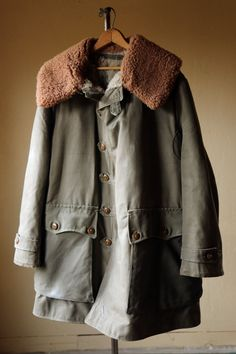 Vintage WWII Livpäls vintage M1909 Canvas Sheepskin Fur lined coat by Mats Larsson dating 1950's Field Coat / Swedish M109 Field Coat XL XXL by thebestfit on Etsy