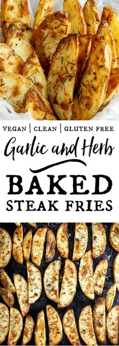 Garlic and Herb Garlic and Herb Oven Baked Steak Fries Garlic and Herb Baked Steak Fries – so easy to make, always healthy and delicious. I love them hot and fresh on salads – try it! Vegan Side Dishes, Side Dish Recipes, Potato Dishes, Potato Recipes, Oven Baked Steak, Oven Steak Fries Recipe, Baked Steak Recipes, Oven Baked Fries, Aperitivos Vegan