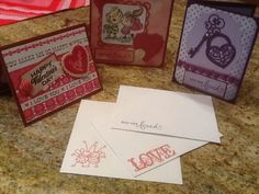 Valentines for my honey using a new stamp of boy and girl and lock and key spell binders die cuts
