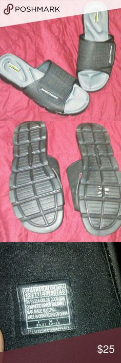 Skechers Mens sandals Skechers Wind Swell Mens sandals in ABSOLUTE PERFECT CONDITION!! My boyfriend wore these for 2 hours max! His feet are too narrow for them (these are NOT wide width) Velcro closure. Gel infused memory foam insole. True to size. Skechers Shoes Sandals & Flip-Flops