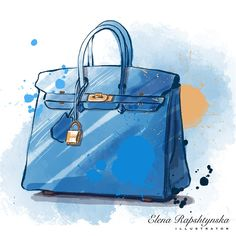 Circus Birthday Invitations, Chanel Art, Drawing Bag, Bag Illustration, Student Fashion, Blue Bags, Aesthetic Art, Fashion Sketches, Cute Drawings
