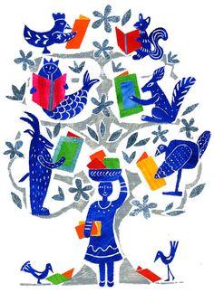 A special librarian / Una bibliotecaria muy especial (ilustración de Eleonora Arroyo)