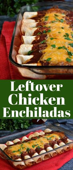 Use rotisserie chicken or leftover chicken to make these simple and tasty chicken enchiladas. Cooked Chicken Recipes Leftovers, Mexican Chicken Recipes, Roast Chicken Recipes, Leftovers Recipes, Healthy Chicken Recipes, Cooking Recipes, Dinner Recipes, Healthy Meals, Recipes With Leftover Chicken