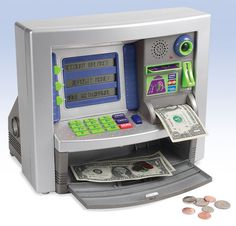 """Deluxe ATM Bank - helps kids learn the basic concept of managing money. They get their own """"ATM card"""" and PIN and can check their balance and make withdrawals. Brilliant."""