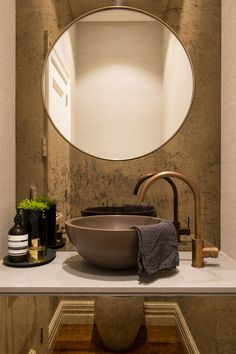 Apaiser Orbit Vessel Basin in Walnut looking amazing with a Buddy Kitchen Mixer & matching Pop Up Waste in Aged Brass!