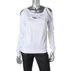 Guess Womens Open Shoulder Embellished Sweatshirt