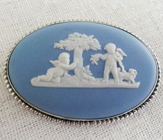 Vtg Wedgwood Blue Jasperware Cameo FAW Sterling Pin Cherub Dog England 57 EC #Wedgwood