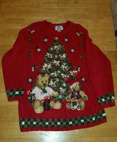 Tiara International Ugly Christmas Sweater Christmas Tree Teddy Bear Size XL #TiaraInternational #Crewneck