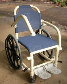 A non-folding plastic framed wheelchair with plastic reinforced wheels suitable for use in wet areas, such as the shower, hydrotherapy or sw...