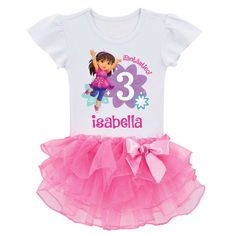 Dora and Friends Birthday Fun Girl Tutu Tee | Ty's Toy Box