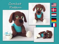 This is puppy CROCHET PATTERN and NOT the finished toy.  The pattern will be e-mailed to you as a PDF file within 24 hours of your payment.  Pattern is written in ENGLISH (in US terms), DANISH, DUTCH,