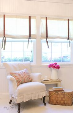 Drop Cloth Curtains Tutorial | Drop cloth window shades. This would look great with leather straps instead of ribbon.