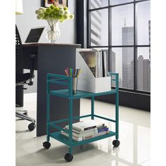This utility cart is made of sturdy metal in a powder-coat finish that looks great in any space. Wheels provide easy mobility throughout the room or your home, while the two shelves provide room for virtually any items that you need easy access to.