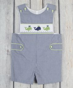 Love this Navy Gingham Whale Smocked John Johns - Infant & Toddler on #zulily! #zulilyfinds