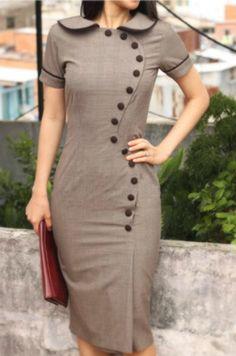 Rockabilly Button Up Pencil Dress Custom Made 50s Style