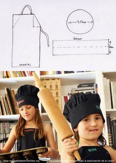 patrones gorro de chef y delantal Sewing Kids Clothes, Sewing Toys, Sewing For Kids, Chef Hats For Kids, Foto Baby, Sewing Aprons, Diy Hat, Kids Apron, Sewing Projects For Beginners