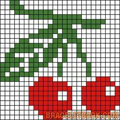 Alpha friendship bracelet pattern added by CoolCat. Tiny Cross Stitch, Cross Stitch Fruit, Cross Stitch Kitchen, Cross Stitch Cards, Cross Stitch Designs, Cross Stitching, Cross Stitch Embroidery, Cross Stitch Patterns, Modele Pixel Art
