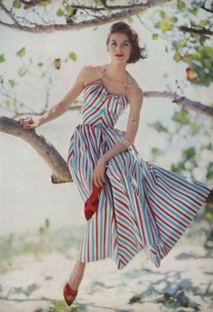 https://flic.kr/p/9E9Lbc   Estate Carlton Hotel, St. Croix Virgin Islands, May 1 Vogue 1957   Wearing a one piece halter top satin striped dress, by Hope Skillman, photographed by Roger Prigent.