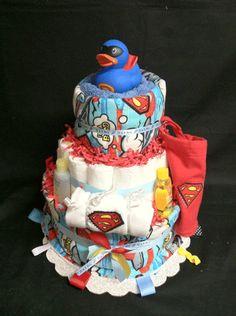 Superman Diaper cake idea for Baby Boy Clark @Stephanie Simmons