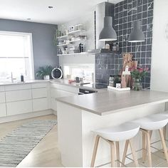 The lovely cosy kitchen of @moniithe showing how to use a marble tray in the kitchen, our rectangular marble trays are currently on sale $99 link in profile