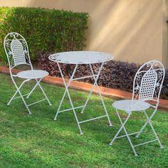 Outsunny 3PC Patio Metal Bistro Set Foldable Garden Table Chair Set 2 Seater Folding Antique Dining Furniture Outdoor White: Amazon.co.uk: Garden & Outdoors