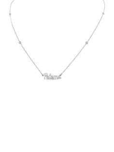 Mini Script Name with Diamonds by the Yard Chain - 14/15\ / 14K White Gold