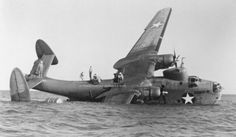The photo above shows another accident with a Martin Mariner in the British West Indies, May 1943. Both floats are gone, probably the reason why this aircraft is listing with the starboard wing making water. ( Photo courtesy Jim Sullivan Collection).