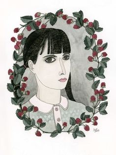 i really like this border for a potrait - Raspberry Portrait Art Print