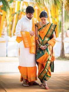 marathi bride with bridegroom on yellow nauvari saree