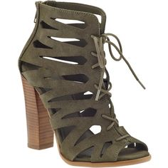 Mia Ira found on Polyvore featuring polyvore, women's fashion, shoes, sandals, spring khaki, lace up sandals, khaki shoes, laced shoes, synthetic shoes and mia sandals