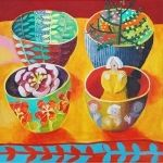 Bowls On Yellow (2011) by Cate Edwards    Acrylic on Canvas   45 x 45 cm