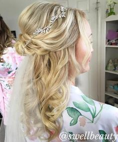 Image result for bride hairstyles medium length hair half up with veil