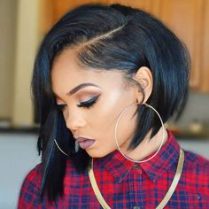 Side Bangs Bob Wigs For African American Women The Same As The Hairstyle In The Picture - Wigs For Black Women - Lace Front Wigs, Human Hair Wigs, African American Wigs, Short Wigs, Bob Wigs Bob Hairstyles For Thick, Older Women Hairstyles, Hairstyles For Round Faces, African Hairstyles, Afro Hairstyles, Bob Haircuts, Black Hairstyles, Hairstyles 2016, Amazing Hairstyles