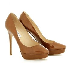 Jimmy Choo Cosmic patent leather in tan -nude pumps for brown skin
