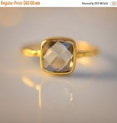 SALE  Green Amethyst Ring  February Birthstone Ring  by delezhen