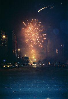 Fireworks light up a city