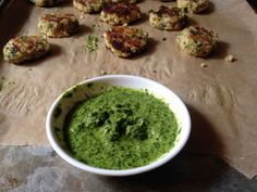 Vegan Cilantro Sauce | This green, tangy sauce will brighten up pretty much anything you pair it with! Try dipping our kale veggie burger bites in / lukasvolger.com
