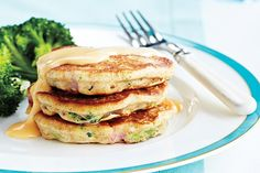 Broccoli and Ham Cakes With Cheese Sauce. For the intermediate home cook!