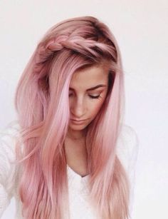 Bang braids are so cute with rose gold hairstyles!