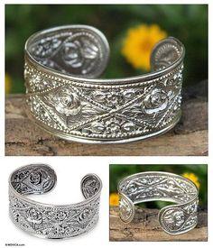 Floral Sterling Silver Cuff Bracelet - Rose of Thailand | NOVICA