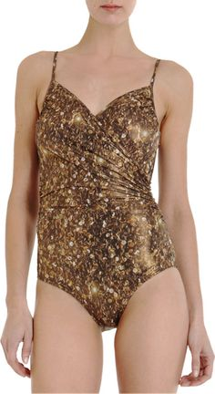 Lanvin Metallic Ruched Swimsuit Sale up to 70% off at Barneyswarehouse.com