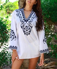 Another great find on #zulily! White Floral Notch Neck Tunic by La Moda Clothing #zulilyfinds