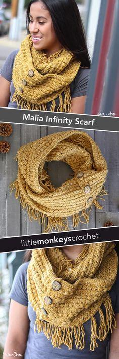 Malia Infinity Scarf | Winter Fringe Scarf Crochet Pattern by Little Monkeys Crochet | Malia CAL 2017