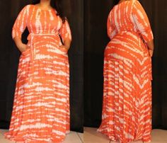 New Plus Size Tye Dye Jersey Knit Belted Orange And White Maxi Dress Size 3X #FabulouslyDressedBoutique #Maxi #Casual